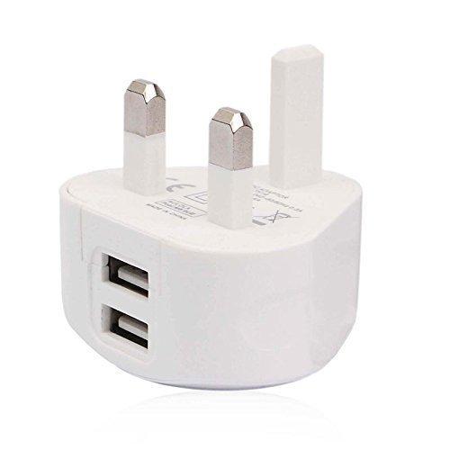 Aulola® CE Certificated TH19 White Color 5V/2.4A 2 Ports Dual USB Mains UK Plug