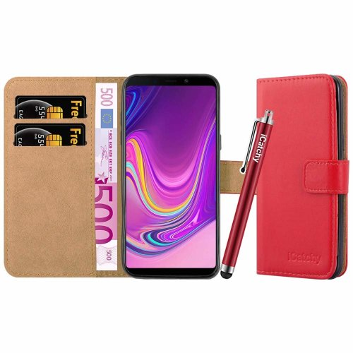 (Red) For Galaxy A9 2018 Leather Wallet Case Cover