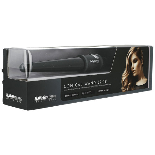 BaByliss Pro Dial a Heat Conical Wand 32-19mm With 25 Temperature Settings Black