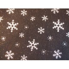 "Snowflake Glitter Felt 9"" x 12"" - Black"