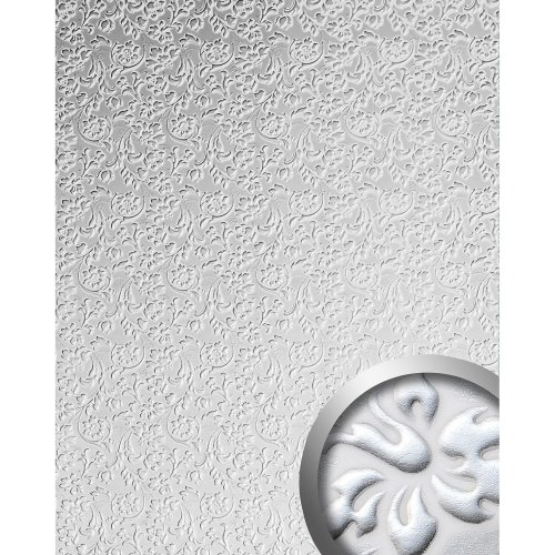 WallFace 13414 FLORAL Wall panel leather baroque flower white silver | 2.60 sqm