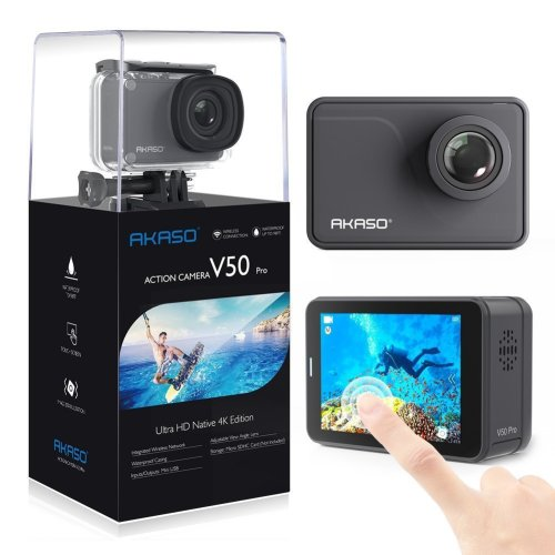 AKASO V50 Pro Native 4K/30fps 20MP WiFi Action Camera with EIS Touch Screen Adjustable View Angle 30m Waterproof Camera Support External Mic Remote...