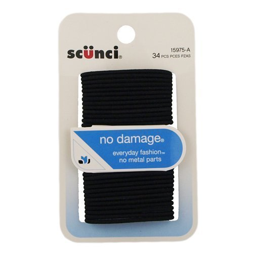 Scunci Elastic Hair Bands, Black, 34 Ct, Small (Pack of 3) by Unknown
