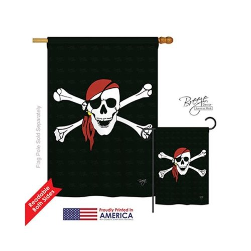 Breeze Decor 07042 Pirate Red Bandana 2-Sided Vertical Impression House Flag - 28 x 40 in.