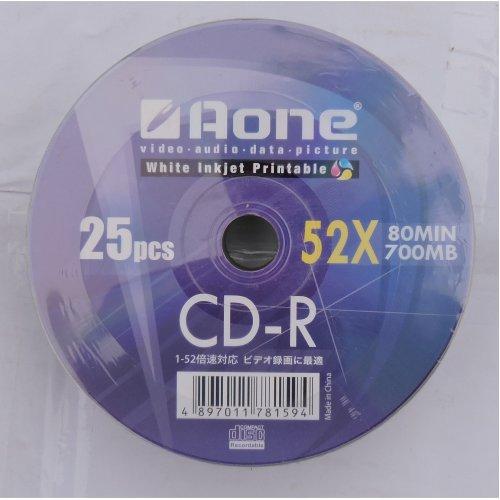 Aone White Inkjet Printable CDR 52X 80 Min 700mb