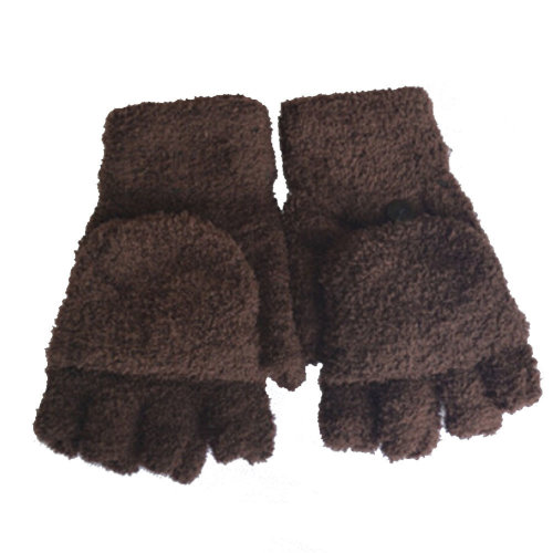 Women's/Girls Fingerless With Mitten Cover Plush Gloves,brown