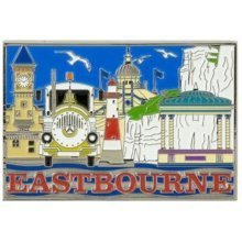 Eastbourne Montage Foil Stamped Fridge Magnet Souvenir Gift Sussex Collage New