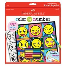 Faber-Castell Color by Number Emoji Pop-Art - Color by Number with Markers for Kids