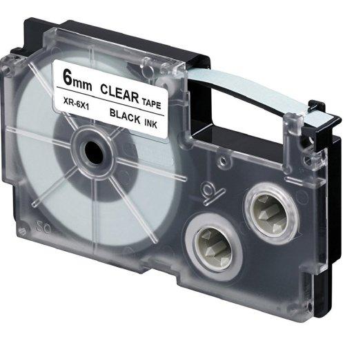 Casio EZ label printer XR-6X1, self-adhesive scroll, 6 mm x 8m, black on transparent