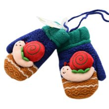1 Pair Kids' Winter Glove Knitted Mittens With Sling(0-3 Years) Snail Navy