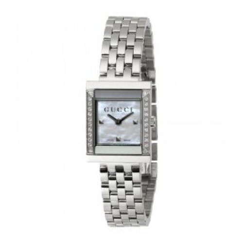 GUCCI WATCH G-FRAME MEDIUM LADY MOTHER OF PEARL DIAMOND QUARTZ STEEL YA128405