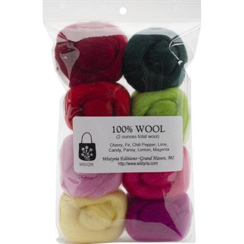 "Wistyria Editions Wool Roving 12"" .25oz 8/Pkg-Zinnias"