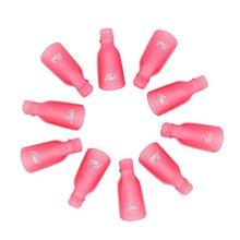 LKE 10Pcs Acrylic Nail Art Soak Off Cap Clip UV Gel Polish Remover Manicure Tool (Pink)