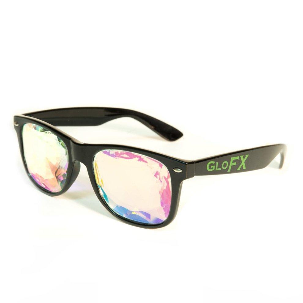 55b23098577fd ... GloFX Ultimate Kaleidoscope Glasses - Rainbow EDM Rave Light  Diffraction Festival Eyewear Edge Cut - Black ...