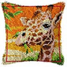 "Latch hook Rug Style Complete Cushion Kit"" Girrafe"" 43 x 43cm"