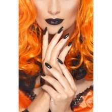 Smiffy's Nailpolish And Lipstick - Black - Nail Polish Fancy Dress Accessory -  lipstick nail polish fancy dress accessory black ladies halloween