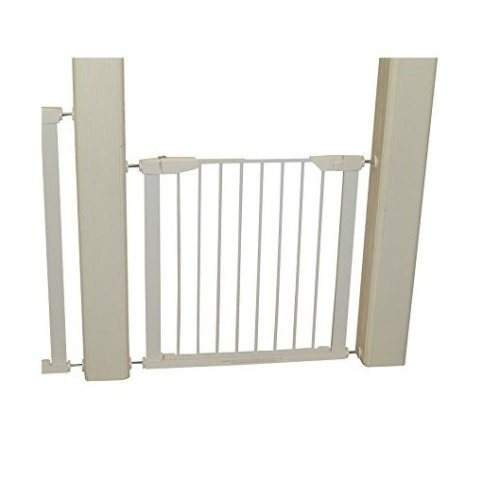 Pawhut Retractable Safety Gate Dog Baby Kids Barrier Folding Protector Home Doorway Room Divider Stair Guard White (74h X 75-82w Cm)