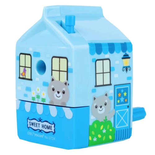 House Shape Manual Hand Pencil Sharpener Blue