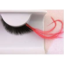 Black Eye Lash With Feather Long Red -