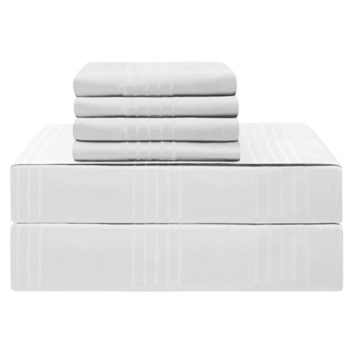 Jean Pierre YMS008210 Premium 420 Thread Count 100 Percent Cotton Sheet Set, White - Queen - 6 Piece