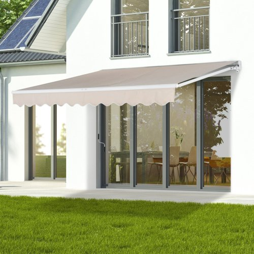 Outsunny Window Awning Canopy Sun Shade UV Blocker w/ Hand Crank (3 x 2.5m, Creamy White)