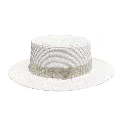Womens Sun Straw Hat Panama Fedora Hat Girls Sun Protection Wide Brim Visor Caps, White