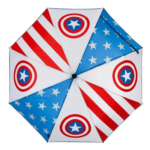 Officially Licensed Marvel Captain America Shield Logo Print Compact Umbrella