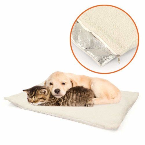 GLOW Self Heating Pet Bed – Super Soft and Comfortable Insulated Non Slip Sheepskin Self Warming Cushion Mat Pad for Cats Kitten Kitty Dog Puppy Small Pets with Reflective Thermal Warming Body Heat Reflecting Core Pad and Zipped Machine Washable Fle
