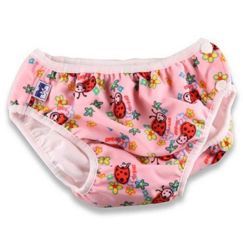 Pink Ladybug Infant Swim Diapers Swim Pants Swim Brief, XL Size