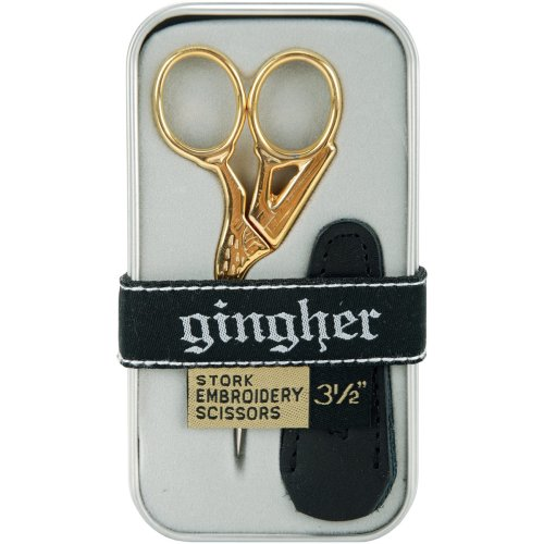 "Gingher Gold-Handled Stork Embroidery Scissors 3.5""-W/Leather Sheath"