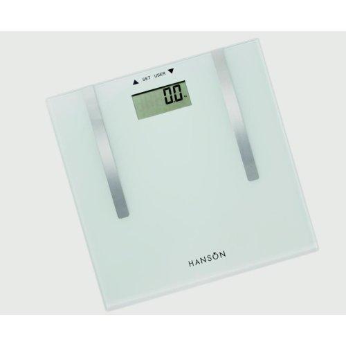 Hanson Body Fat Bathroom Scale White Glass 150kg