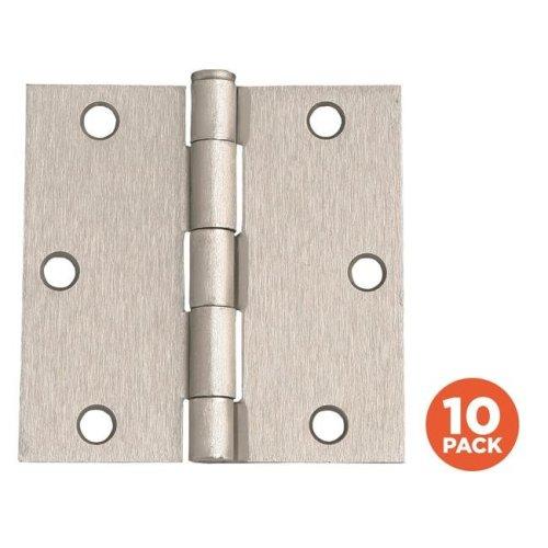 Door Hinge, Satin Nickel - 3.5 in. - 10 per Pack