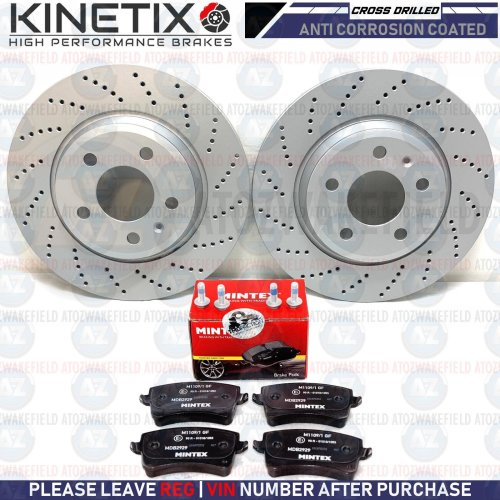 FOR AUDI A4 2.0 TDI S LINE BLACK EDITION REAR DRILLED BRAKE DISCS MINTEX PADS
