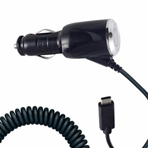 i-Tronixs - Black Coiled Cord Adapter (2000 mAh) Type-C Car Charger for Samsung Galaxy A9 (2018)