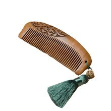 Forget-me-not Peach Wooden Comb  Carving Anti-static Wooden Comb