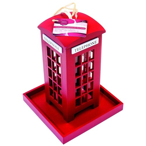 Novelty Gift Hanging London Red Telephone Box Garden Bird Feeder Seed Nut Feeder