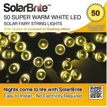 Solar Brite Deluxe Solar Fairy Lights 50LED Super Bright Warm White Decorative String, choice of light effect. Ideal for Trees, Gardens, Parties & More...