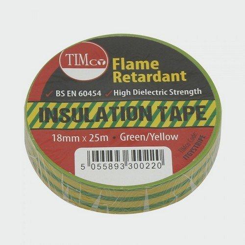 TIMco ITGYSTRIPE PVC Insulation Tape Stripe 25m x 18mm Pack of 10