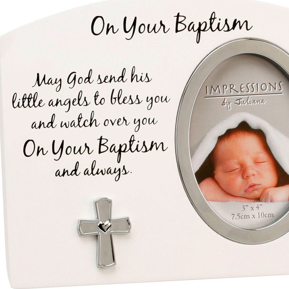 "White and Silver MDF Photo Frame ""3x4' FW918 - On Your Baptism"