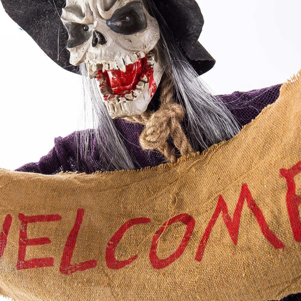 Halloween Hanging Ghost Skeleton Decorations Scary Witch Eyes Bright Scary  Voice Sound Control Props