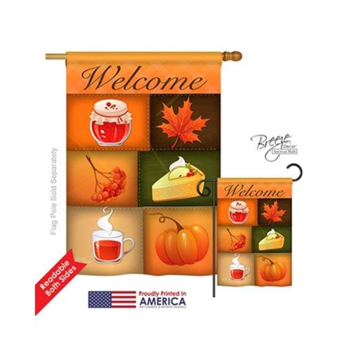 Breeze Decor 13050 Harvest & Autumn Scents of Harvest 2-Sided Vertical Impression House Flag - 28 x 40 in.