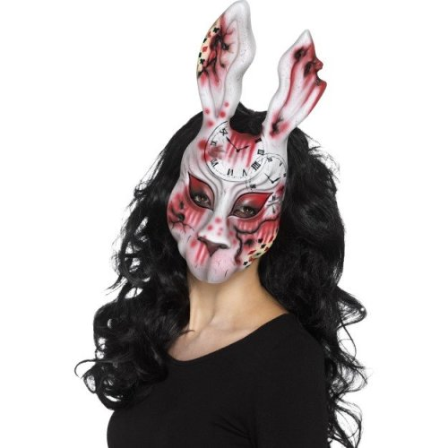 Smiffy's 20343 Evil Bunny Mask (one Size) -  evil white bunny mask horror halloween fancy dress adults accessory scary zombie rabbit costume