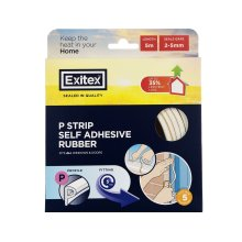 Exitex P Strip Rubber Draught Seal  5m - White