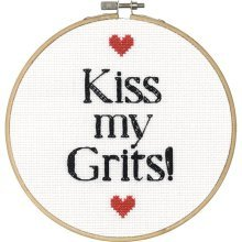 6'' Round 14 Count Dimensions Say It Kiss My Grits! Counted Cross Stitch - -  say grits counted cross stitch kit6 round 14