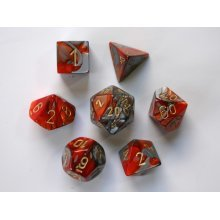 Chessex Gemini Polydice Set - Orange-Steel/gold
