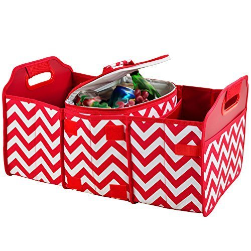 Picnic At Ascot 8014 Cr Original Folding Trunk Organizer With Cooler Red Chevron