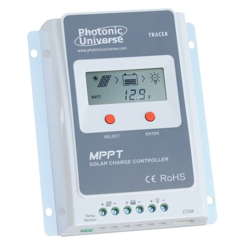 Photonic Universe 10A MPPT solar charge controller/regulator with built in LCD display for solar panels up to 130W (12V battery system) / 260W (24V...