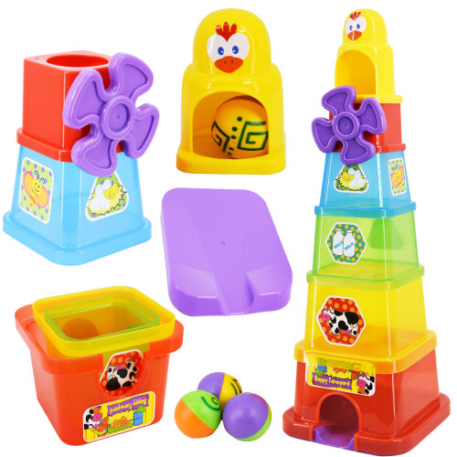 Happy Farmyard Spin & Drop Baby Tower Jumbo Stacking Cups