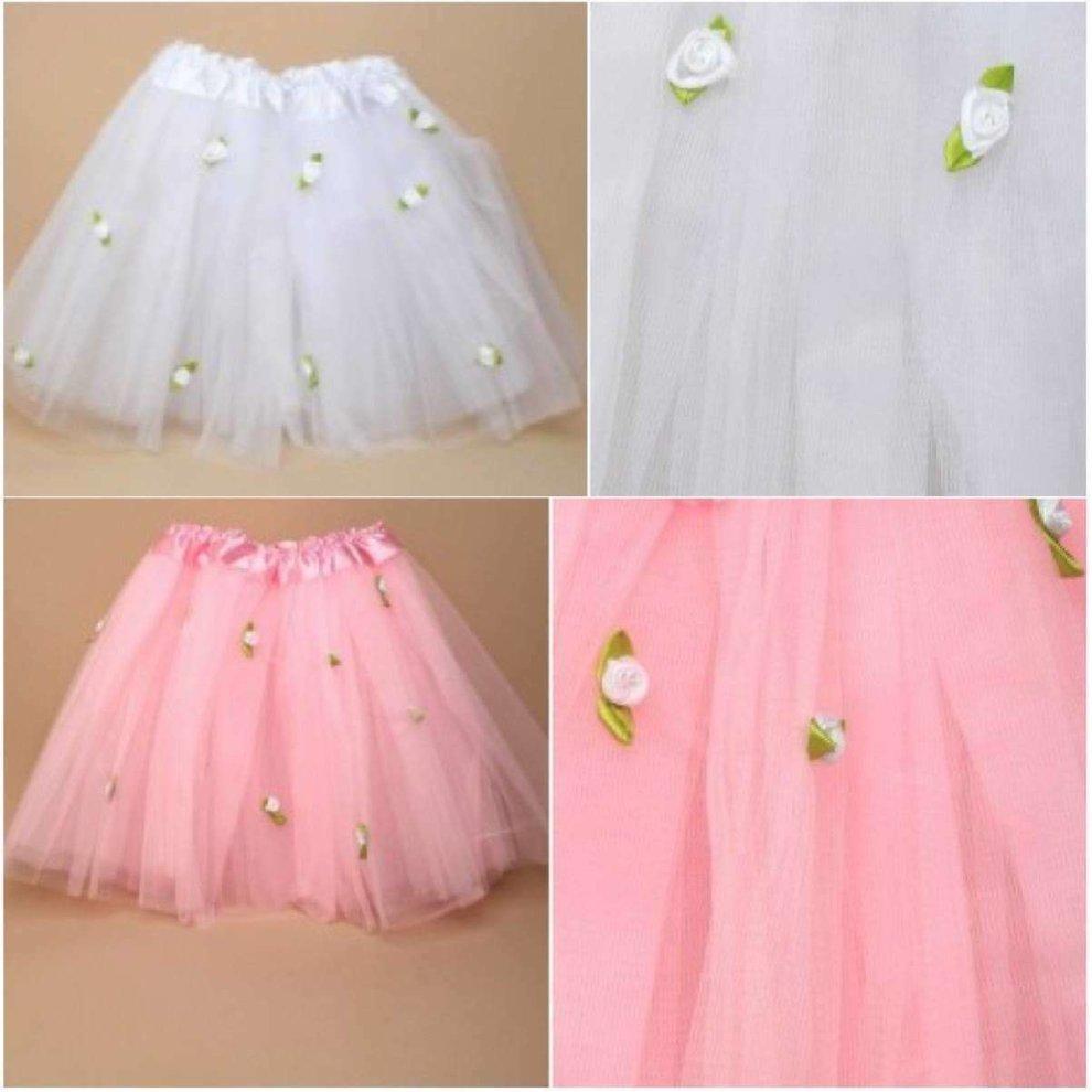 b2e35dd411 Girls Tutu With Rose Detail Net Skirt Flower Girl Party Weddings Fancy  Dress on OnBuy