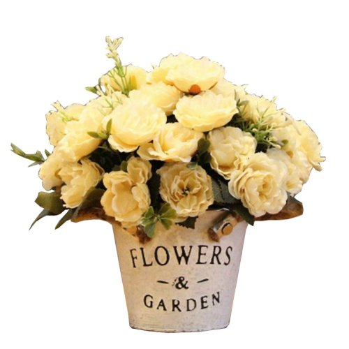 Pretty Artificial Flowers with Basket - Peony White